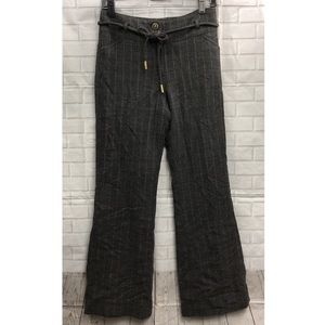 PER SE Gray Stripes Wool Pants with Belt